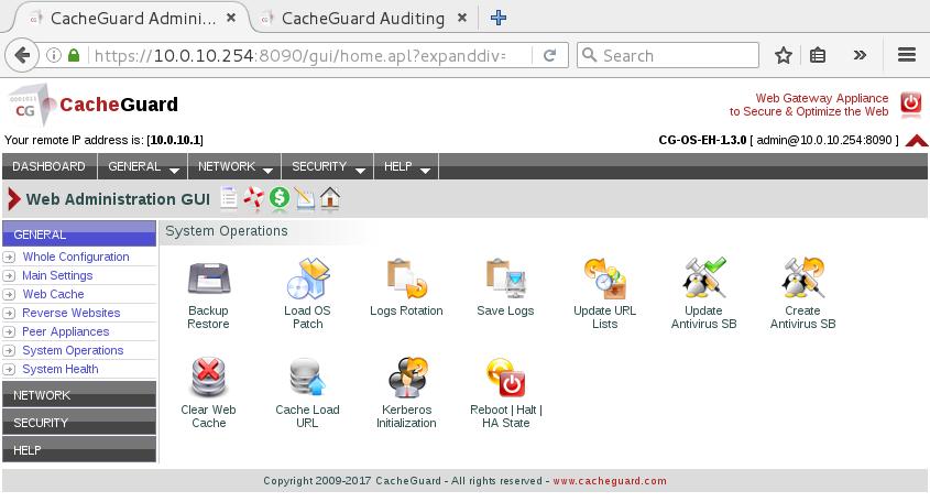 admin interface html - CacheGuard Guide